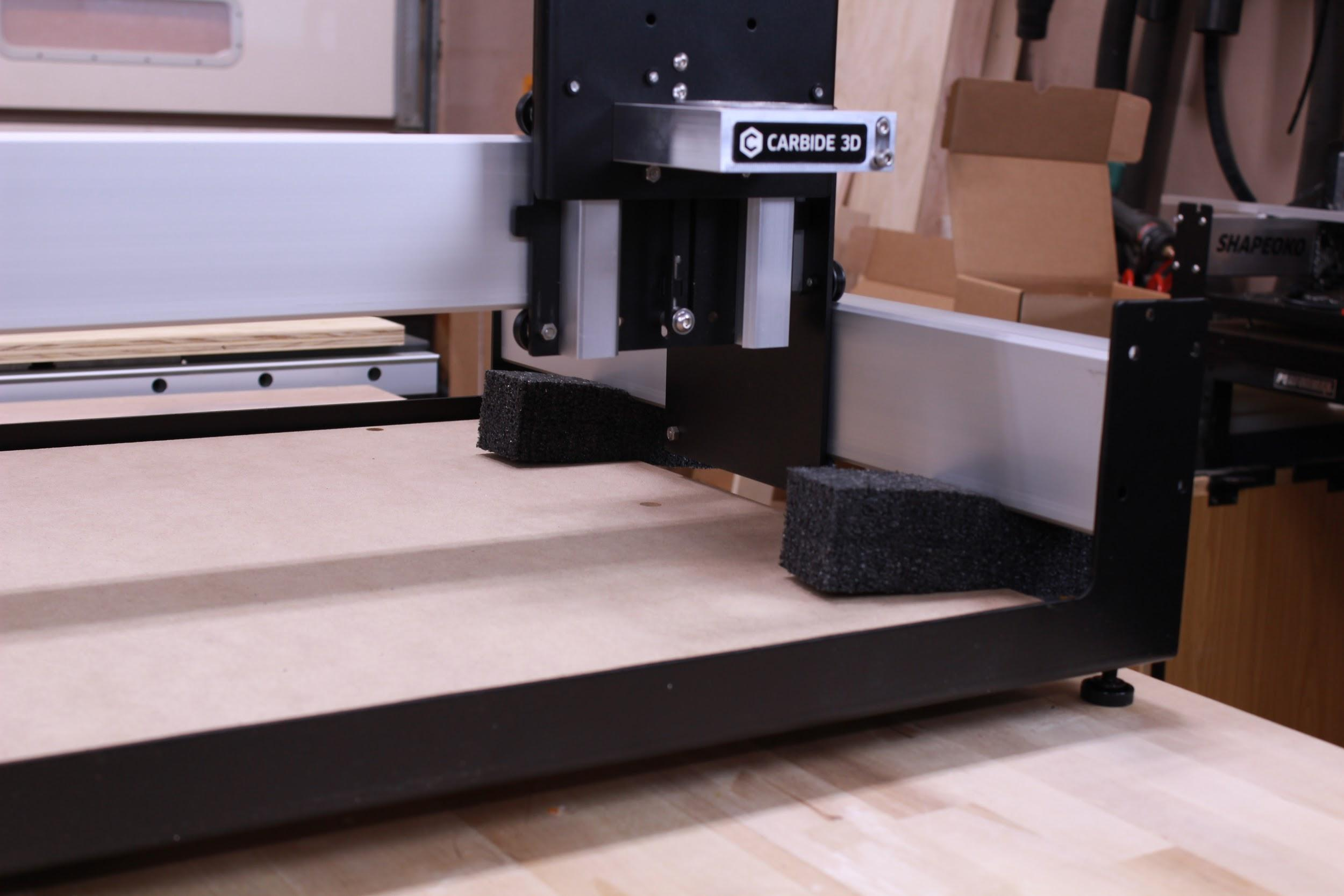 Shapeoko Xl Assembly Guide Carbide 3d Wire Harness Embly Workbench Using The Foam Pads From Y Left And Right Boxes Slide System Into Place Prop Up With Use 1x M6x12mm Bhcs In Front Rear Of Side